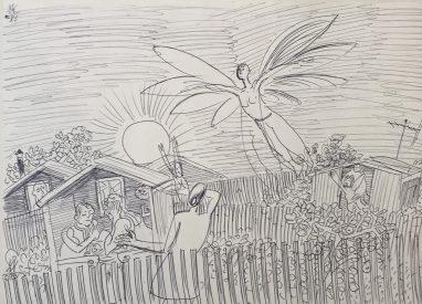 Der Nachbar, der will fliegen, 1983, Kugelschreiber, 23,5 x 33 cm