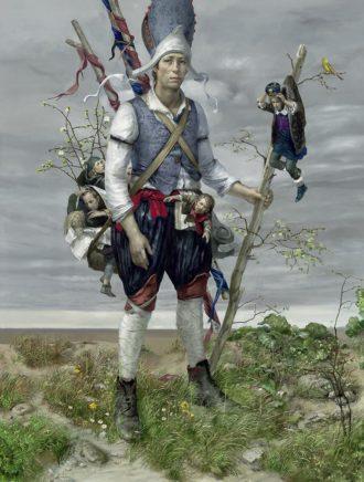 Frank Hauptvogel, Lied der Goldammer, 2020, Öl auf Leinwand, 210 x 160 cm