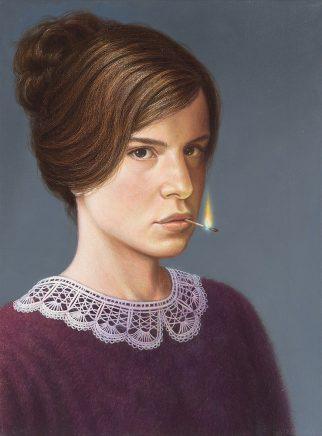 Leif Borges, Die Pyromanin, 2018, Acryl und Öl auf Leinwand, 40 x 30 cm