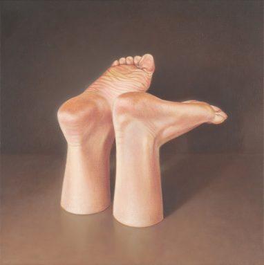 Leif Borges, Feet, 2018, Acryl und Öl auf Leinwand, 40 x 40 cm