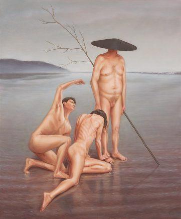Leif Borges, Mushroom-Man, 2018, Acryl und Öl auf Leinwand, 60 x 50 cm
