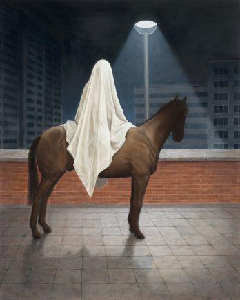 Leif Borges, Troja, 2017, Acryl und Öl auf Leinwand, 100 x 80 cm