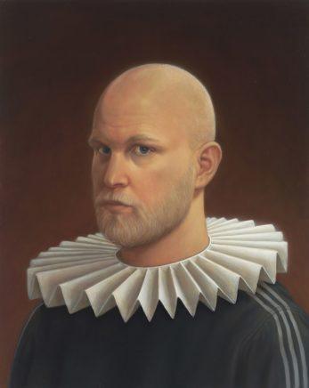 Leif Borges, Kragen, 2018, Öl auf Holz, 50 x 40 cm