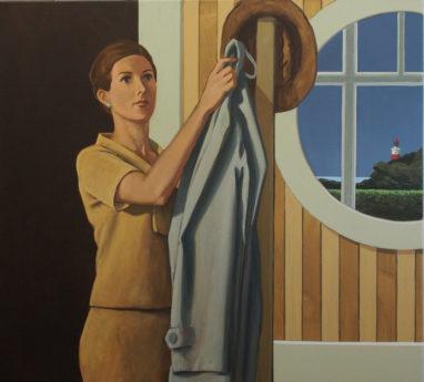 Christian Brandl, Der Mantel, 2019, Öl auf Leinwand, 100 x 110 cm