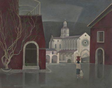 Günther Blau, Fossanova, 1960, Öl auf Hartfaser, 40 x 50 cm