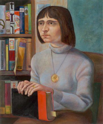Ulrich Hachulla, Bibliothekarin, 1971, Mischtechnik auf Hartfaser, 73 x 61 cm