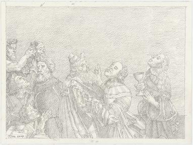 Werner Tübke, Figurengruppe am Meer, 2004, Grafit, 21,7 x 29,5 cm