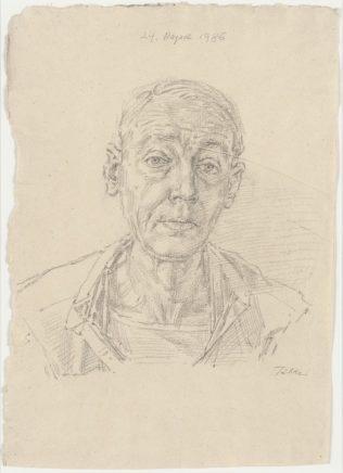 Werner Tübke, Selbstbildnis, 1986, Grafit, 40 x 28,5 cm