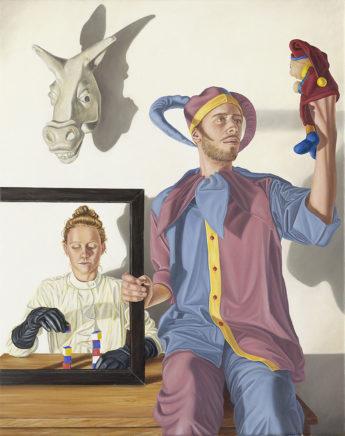 Sven Hoppler, Das Spiel, 2020, Öl und Acryl auf Leinwand, 50 x 40 cm