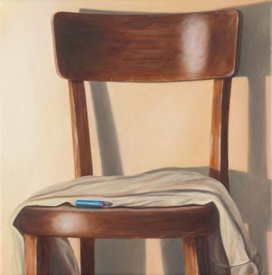 Sven Hoppler, o.T. (Studie Stuhl für die Bildtafel Jüngling), 2019, Öl und Acryl auf Leinwand, 30 x 30 cm