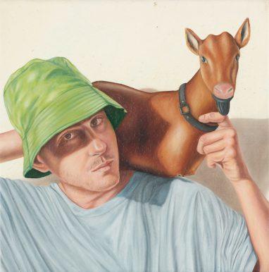 Sven Hoppler, Selbstporträt als Hirte, 2020, Acryl und Öl auf Leinwand, 20 x 20 cm
