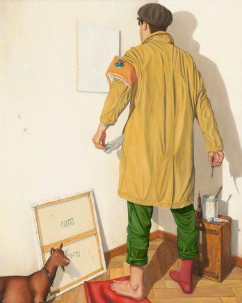 Sven Hoppler, Sven, ab in die Ecke und malen!, 2020, Acryl und Öl auf Leinwand, 50 x 40 cm