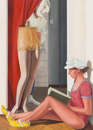 Sven Hoppler, Lesende, 2020/21, Acryl und Öl auf Leinwand, 70 x 50 cm
