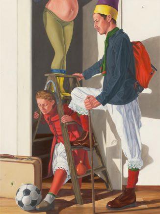 Sven Hoppler, Lasten des Alltags, 2020/21, Acryl und Öl auf Leinwand, 80 x 60 cm