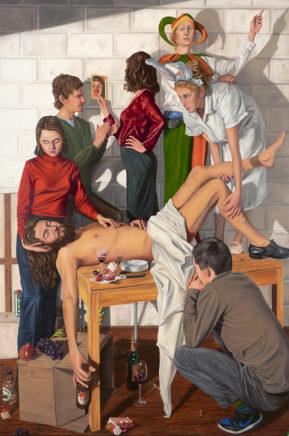 Sven Hoppler, Lob der Torheit, 2019, Öl auf Leinwand, 300 x 200 cm