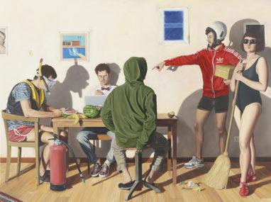 Sven Hoppler, Unbemerkte Berufung, 2019/20, Öl und Acryl auf Leinwand, 120 x 160 cm